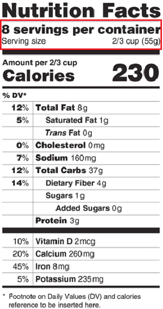 Nutrition Facts Servings